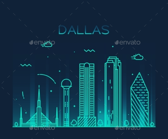 Dallas Skyline Trendy Vector Illustration Linear