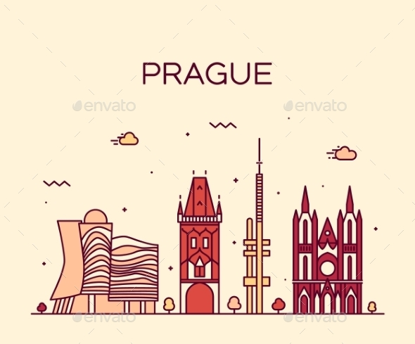 Prague Skyline Trendy Vector Illustration Linear - Landscapes Nature