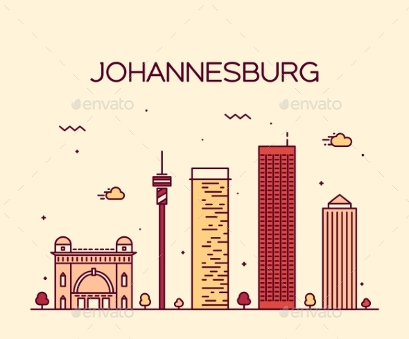 Johannesburg Skyline Vector Illustration Linear - Landscapes Nature