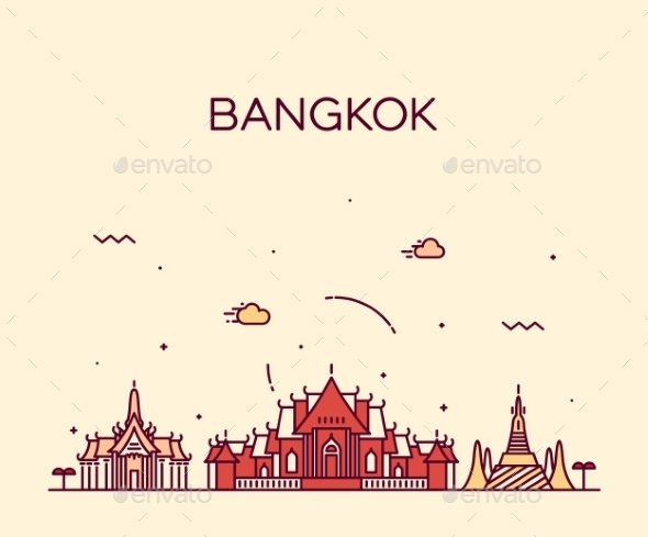 Bangkok Skyline Trendy Vector Illustration Linear