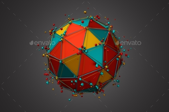 Rendering Of Sphere With Wireframe And Particles