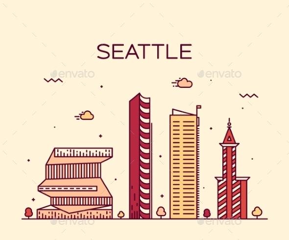 Seattle Skyline Trendy Vector Illustration Linear - Landscapes Nature