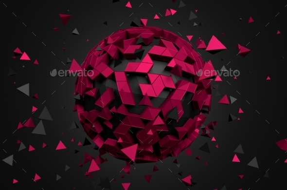 Abstract 3D Rendering Of Low Poly Sphere. - Tech / Futuristic Backgrounds