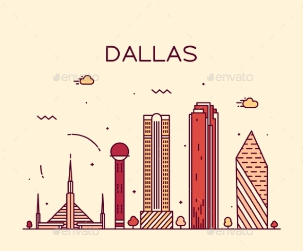 Dallas Skyline Trendy Vector Illustration Linear - Landscapes Nature