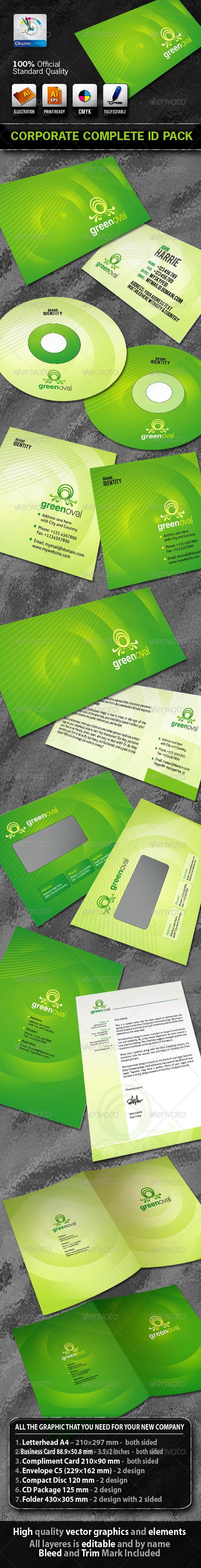 GreenOval Business Corporate ID Pack + Logo - Stationery Print Templates