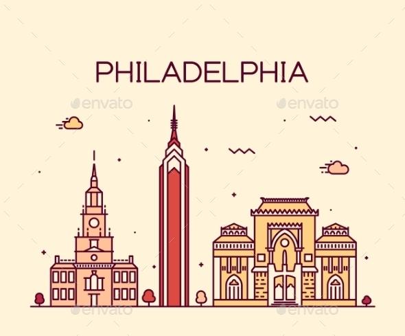 Philadelphia Skyline Trendy Vector Linear Style - Landscapes Nature