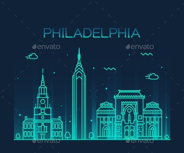 Philadelphia Skyline Trendy Vector Linear Style