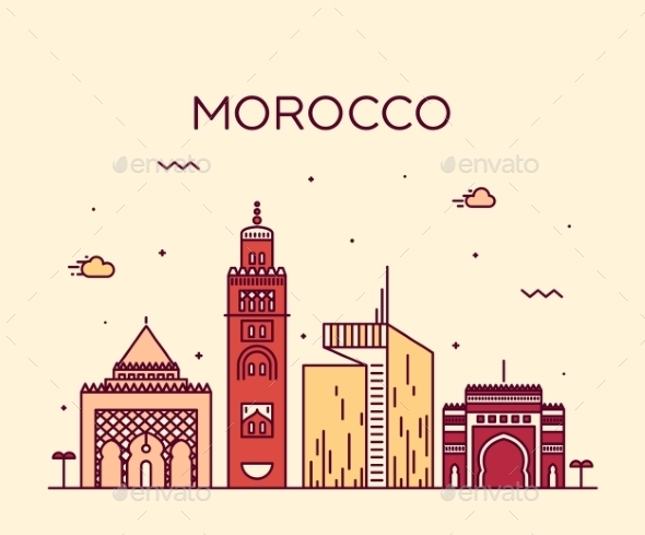Morocco Skyline Trendy Vector Illustration Linear - Travel Conceptual