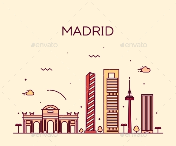 Madrid Skyline Trendy Vector Illustration Linear