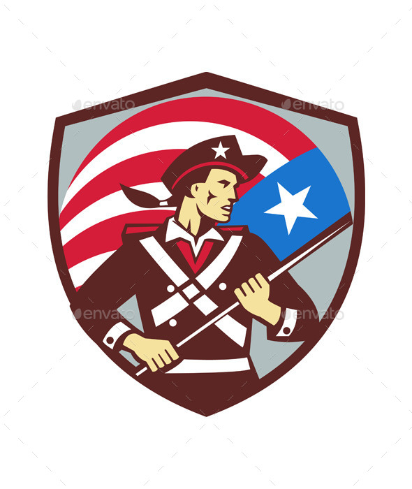 American Patriot Holding Brandish USA Flag Crest R - People Characters