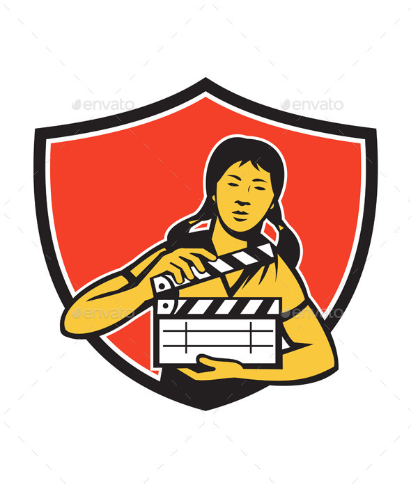 Asian Woman Movie Clapper Shield Retro - People Characters