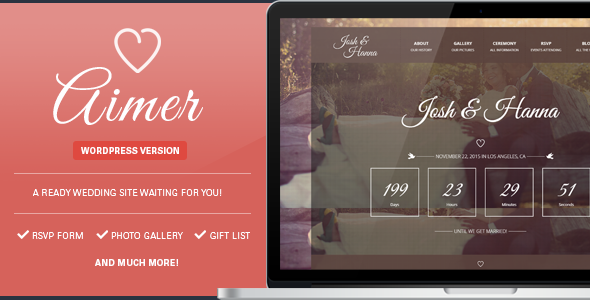 Aimer – Wedding WordPress Theme For Lovers