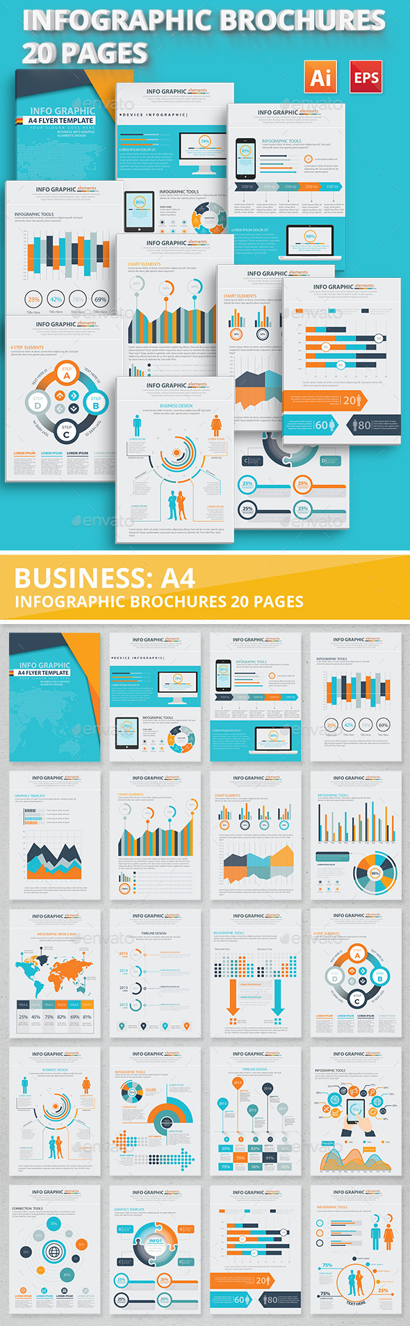 20 Pages Info Graphic Elements Design - Infographics