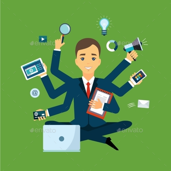 Businessman With Multitasking And Multi Skill - Concepts Business