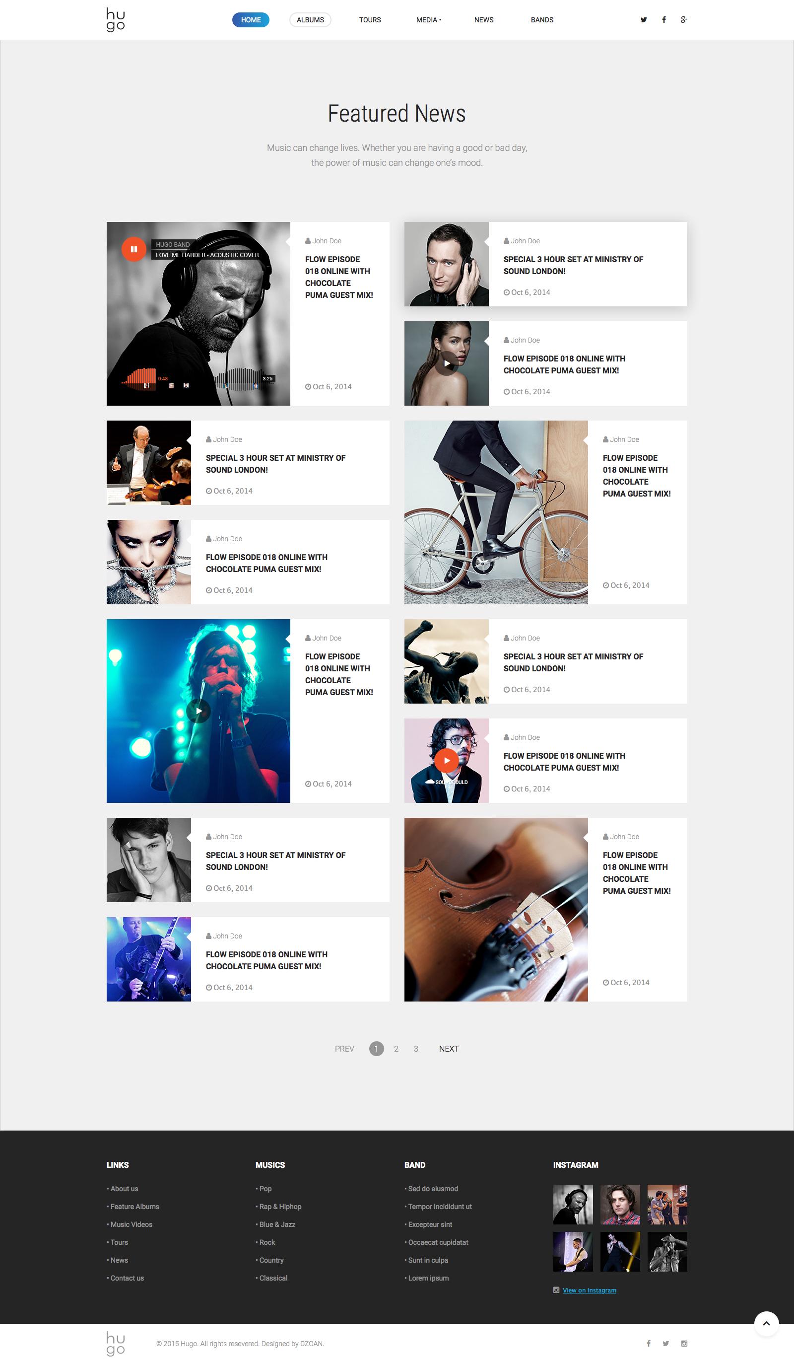 Hugo | Music & Bands Sketch Templates by DZOAN | ThemeForest