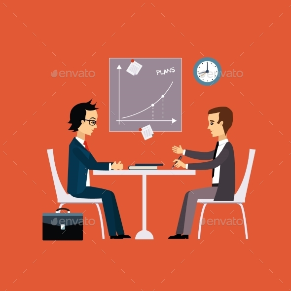 Business People, Two Men At The Table Negotiating - Concepts Business