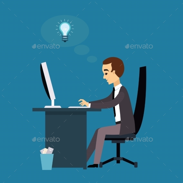 Man Works With a Laptop. Flat Modern Illustration - Concepts Business