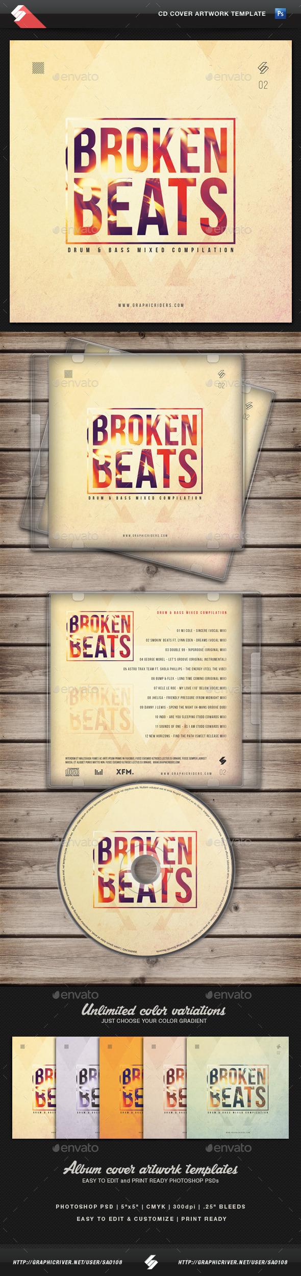 Broken Beats Vol2 CD Cover Artwork Template