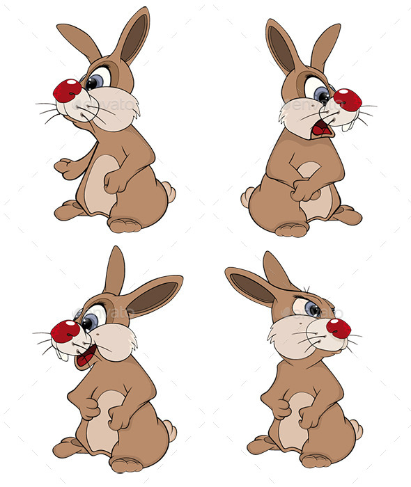 Set of Cute Vector Rabbits