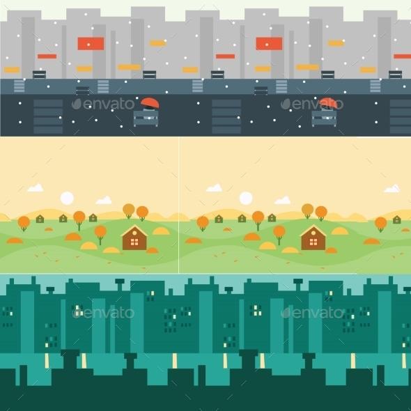 Vector Landscape Cartoon Seamless Backgrounds  - Landscapes Nature