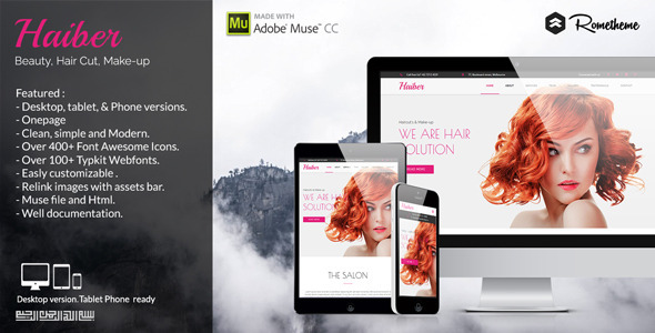 Haiber – Beauty, Haircut, & Make-up Muse Template