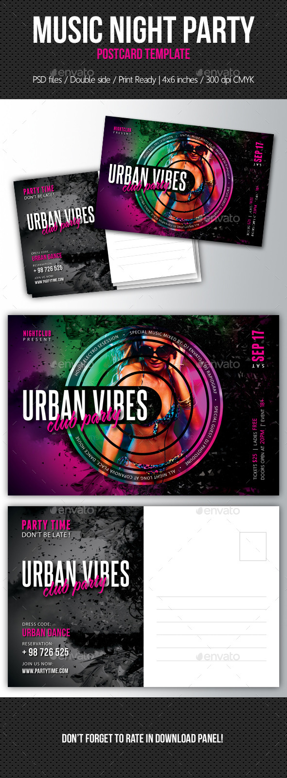 Music Night Party Postcard Template V08 - Invitations Cards & Invites