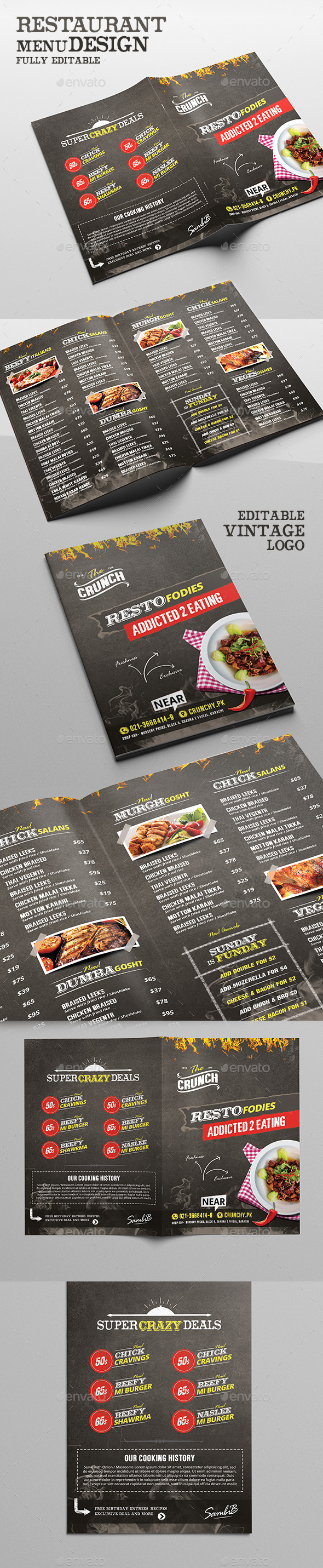 Food Menu - Chalk Board Restaurant - Food Menus Print Templates