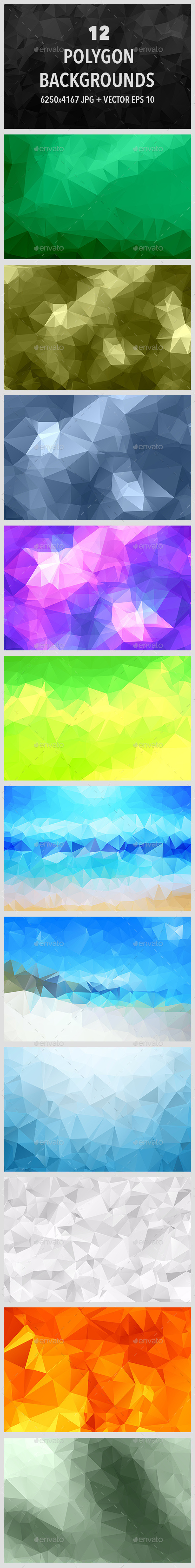 12 Polygonal Backgrounds