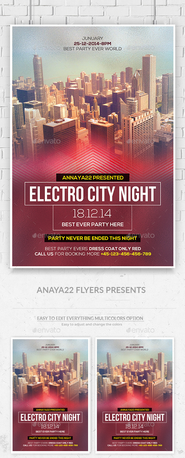 Electro City Night Party Flyer PSd - Clubs & Parties Events