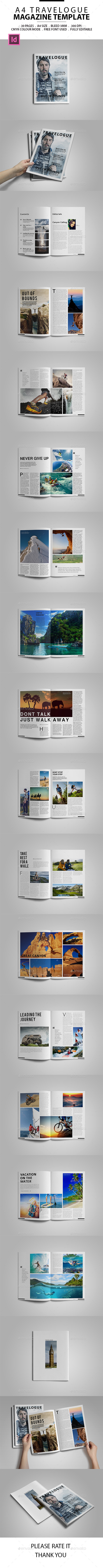 A4 Travelogue Magazine Template - Magazines Print Templates