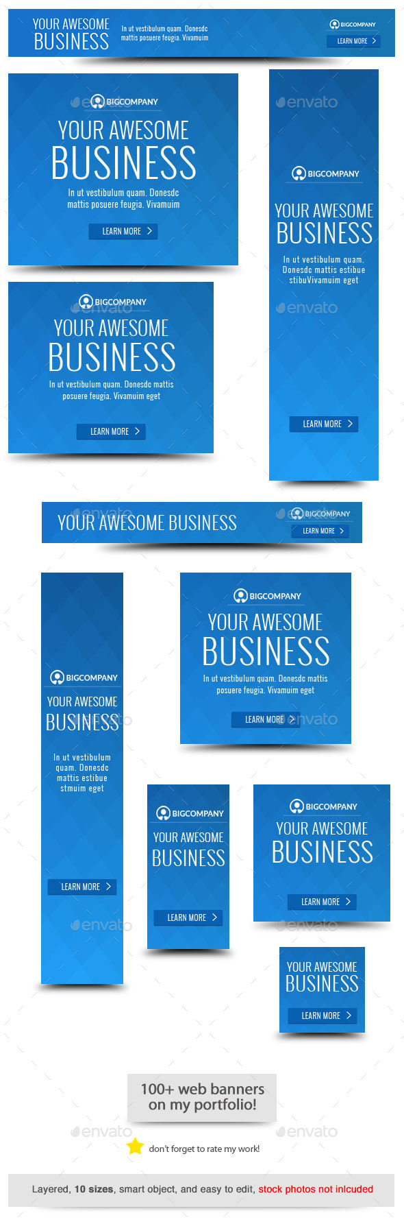 Blue Business Banner Template - Banners & Ads Web Elements