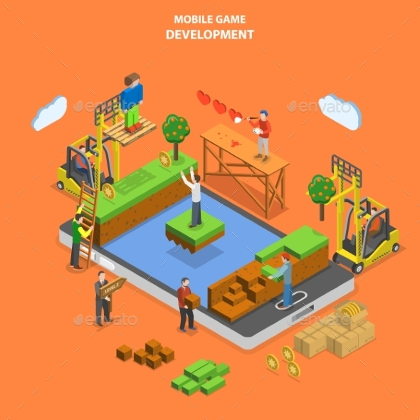 Mobile Game Development Flat Isometric Vector - Computers Technology
