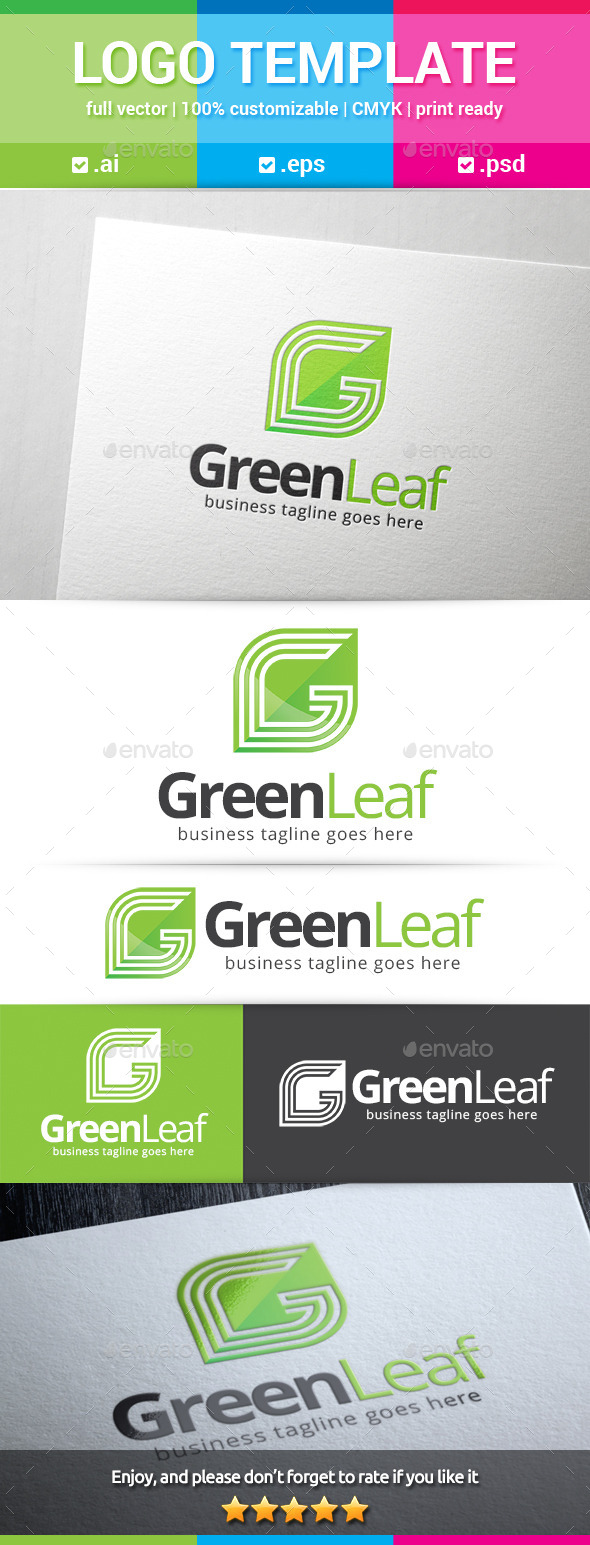 Green Leaf Letter G Logo - Letters Logo Templates