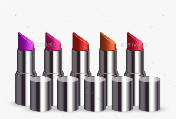 Modern Lipstick Set on White - Man-made Objects Objects