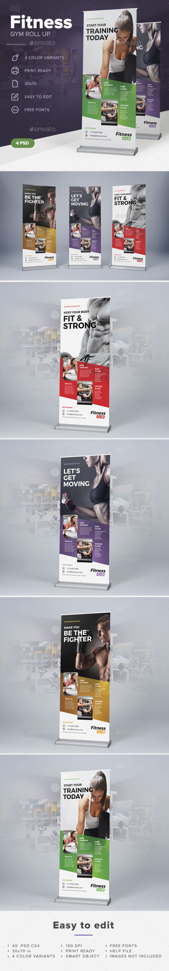 Fitness Gym Roll Up - Signage Print Templates