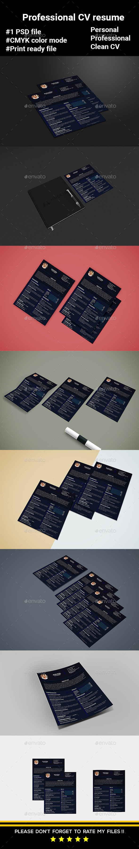 Professional CV Template Resume - Resumes Stationery
