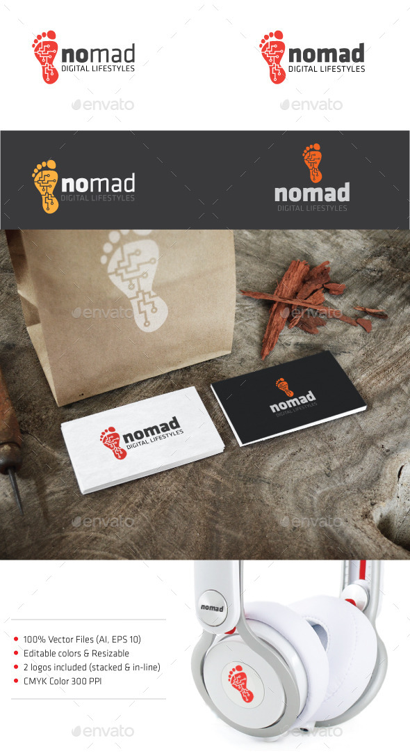 Digital foot print vector logo - Humans Logo Templates