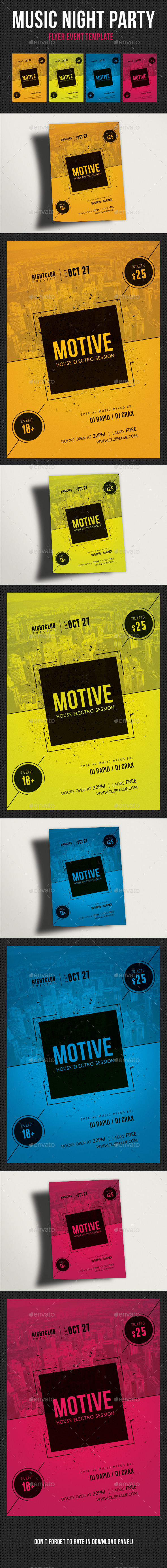 Music Night Party Flyer Template 22 - Clubs & Parties Events