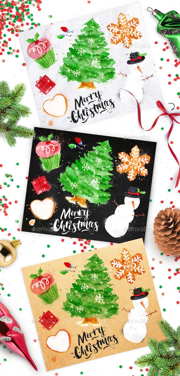 Set Christmas Tree - Christmas Seasons/Holidays