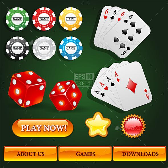 Casino Design Elements Set - Web Elements Vectors