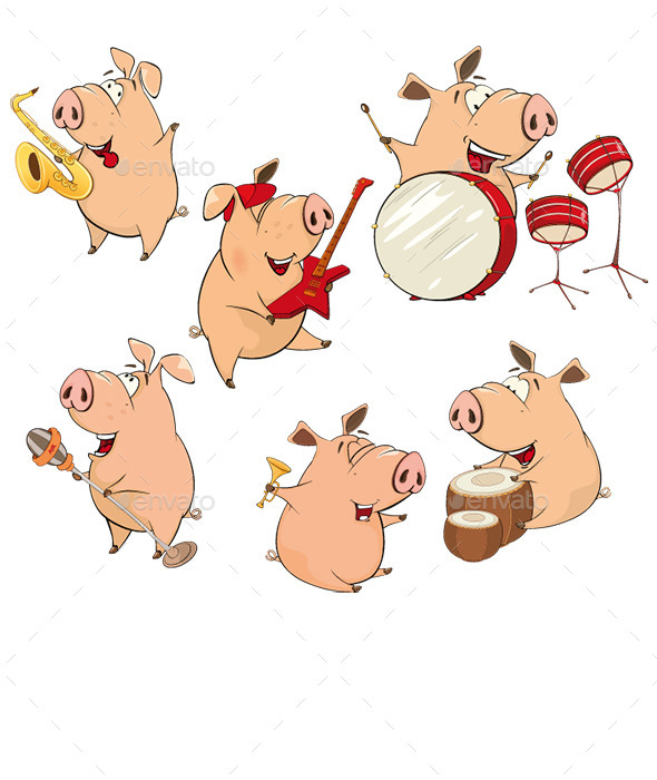 Set of Cartoon Pigs  - Animals Characters