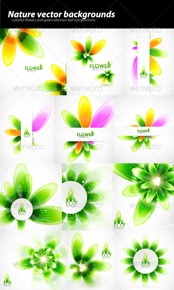 Pack of abstract nature backgrounds - Flowers & Plants Nature