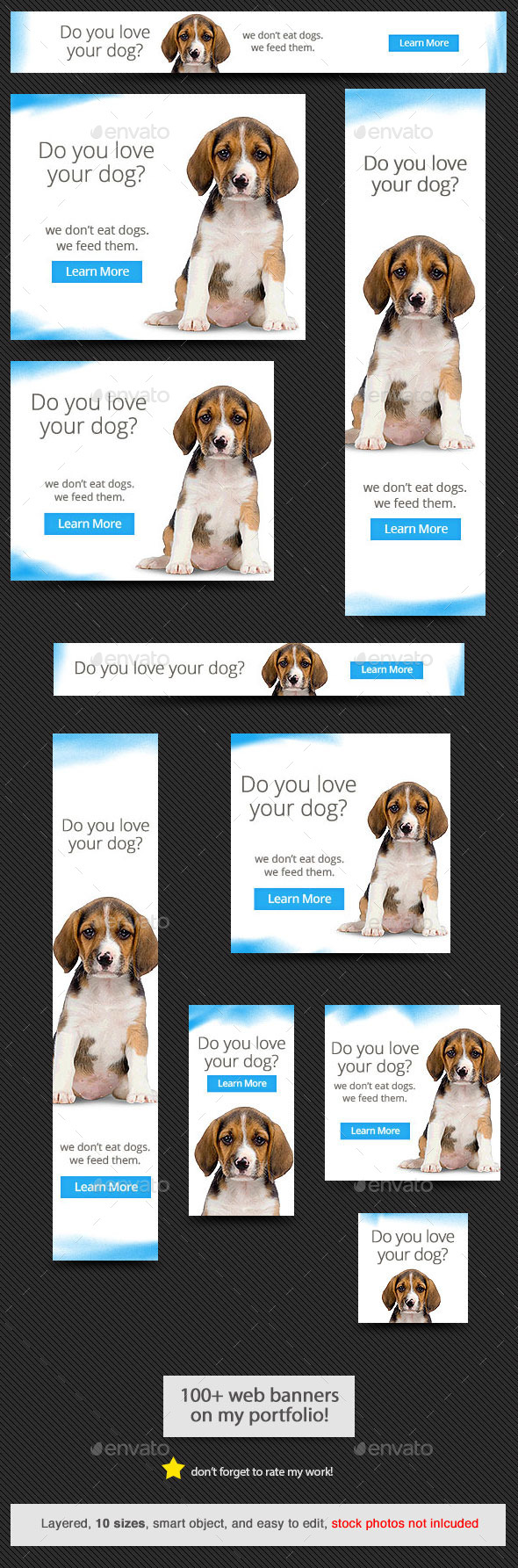 Dog Love Web Banner - Banners & Ads Web Elements