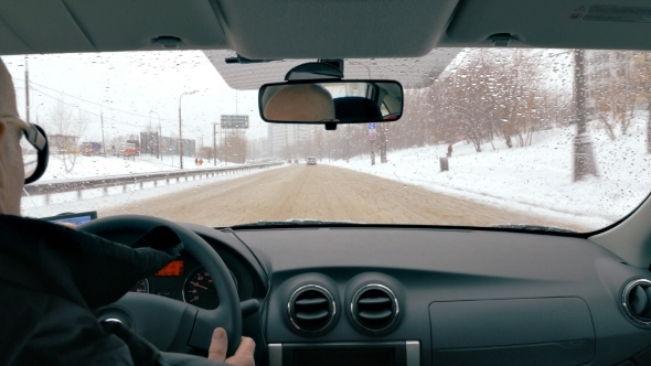 Driving To Destianation In Winter City