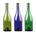 Colored alcohol bottles