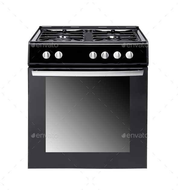 gas cooker over the white background - Stock Photo - Images