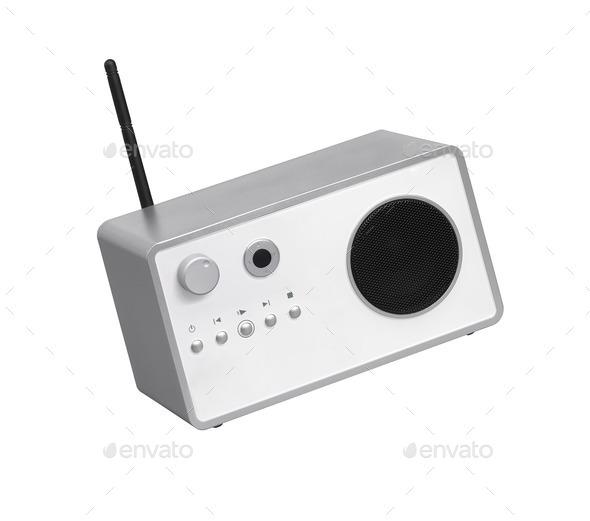 Modern radio transmitter isolated on white background - Stock Photo - Images