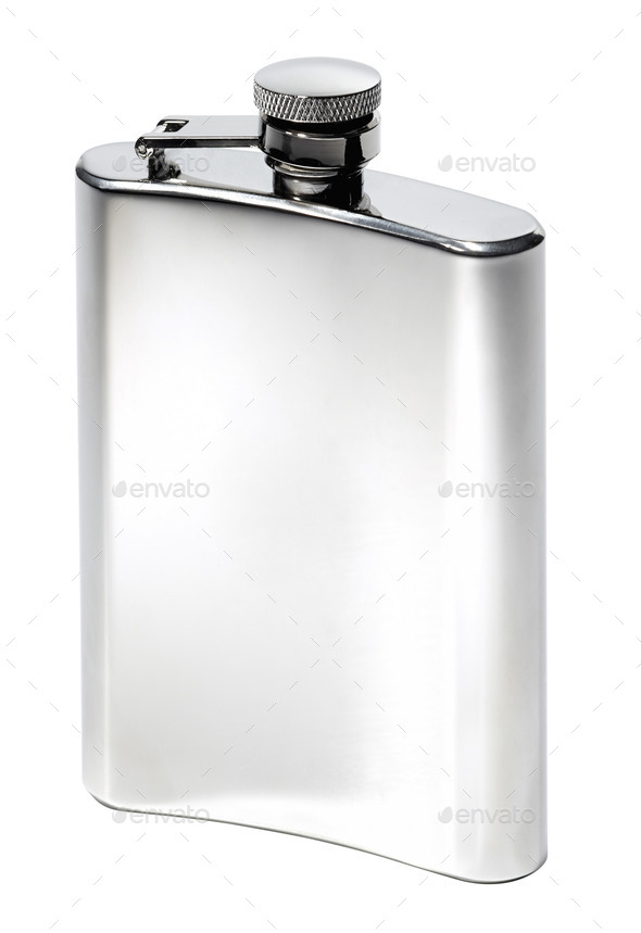Flat metal flask on white background - Stock Photo - Images