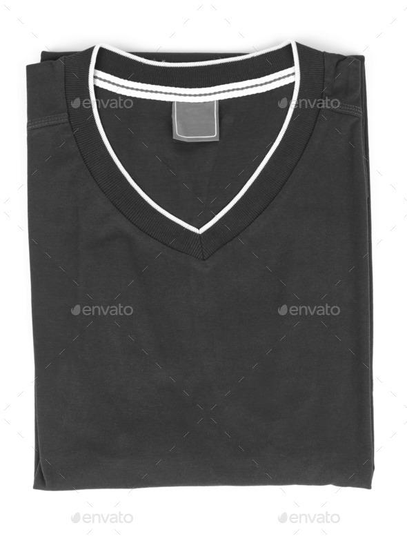 folded t-shirt on white background - Stock Photo - Images