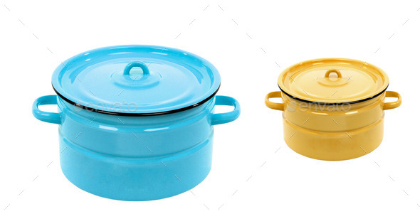 Pot blue and yellow isolated - Stock Photo - Images